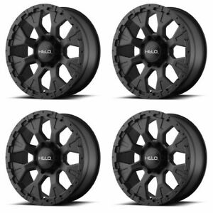 Set 4 16x9 Helo He878 Black Rims 5x4 5 12mm Lifted For Ford Jeep Truck W Lugs