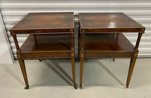 Antique Weiman Heirloom Mahogany End Tables W Inlaid Leather Tops