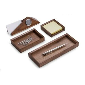 Bey berk Wooden Desk Set 4 Piece Walnut