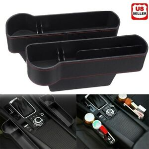 Auto Car Seat Gap Catcher Storage Pu Box Organizer Cup Crevice Pocket Stowing Us