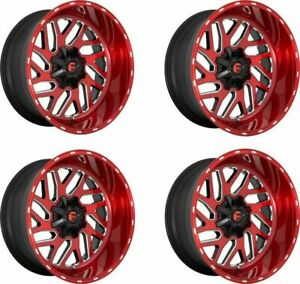 Set 4 22x12 Fuel D691 Triton Candy Red Milled 8x180 Truck Wheels 43mm W Lugs