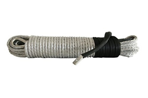 Silver 5 16inch 94ft Synthetic Winch Rope For Atv Suv Jeep Truck 6000lb 8000lb