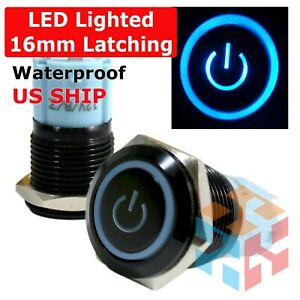 16mm 12v Latching Push Button Power Switch Black Metal Red Led Waterproof