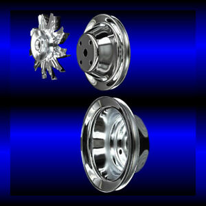Chrome Small Block Chevy Pulley Set 3 Pulleys Long Pump Sbc Single Belt Alt Only