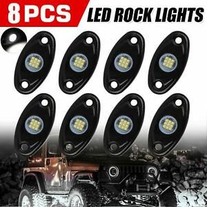White 8 Pods Cree Led Rock Underbody Lights For Jeep Offroad Truck Atv Utv Boat