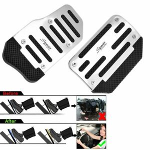 Racing Sports Non Slip Automatic Car Foot Rest Gas Brake Pedals Pad Cover Silver