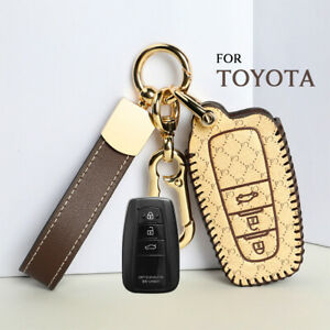 Leather Car Remote Key Cover Case For 2018 2020 Toyota Camry Avalon C Hr Prius