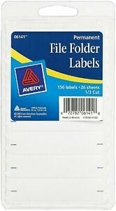 Avery Permanent File Folder Labels 2 75 X 0 625 Inches White 156 Ea pack Of 4