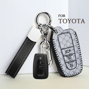 Retro Leather Car Smart Key Cover Case For Toyota Camry Avalon Chr Prius Corolla