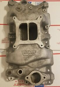 Vintage Squarebore Weiand 8016 Dual Plane Intake Sbc Small Block Chevy Holley