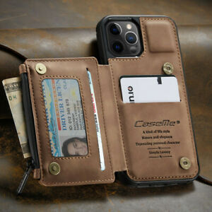 For Iphone 12 11 Pro Max Leather Wallet With Zipper Magnet Flip Cover Card Case