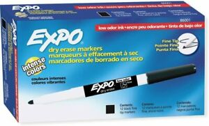 New In Box Expo 86001 Low Odor Dry Erase Marker Fine Point Black pack Of 12