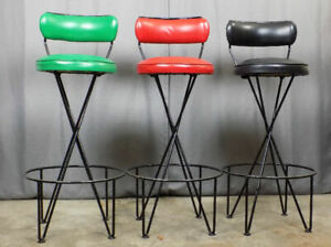 3 Paul Tuttle Iron Hairpin Bar Stools With Back Rests Retro Mid Century Modern