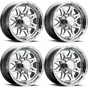 16x10 Raceline 888 Renegade 8 8x170 25 Polished Wheels Rims Set 4