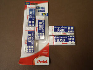 Pentel Hi polymer Block Eraser Large 3 Pack White Zeh10bp3 k6 New 2 Extra