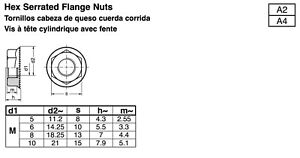 Stainless Steel Hex Flange Nuts Serrated Din 692 Metric M3 M4 M5 M6 M8 M10