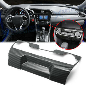Carbon Fiber Central Console Ac Switch Panel Cover Trim For Honda Civic 2016 20