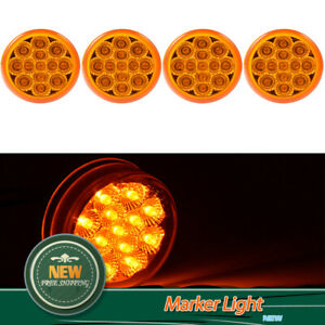 4pcs 2 5 Inch Round Amber 13 Led Side Marker Clearance Light Trailer Truck Lamp
