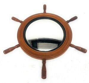 Vintage Antique Ship Wheel Mirror Wooden Frame Nautical Wall Decor Marine Wheel