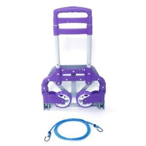 Luggage Cart Folding Dolly Collapsible Trolley Push Hand Truck W Bungee Cord