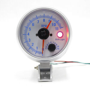 Digital Chorme Tachometer Gauge 0 11000 Rpm Blue Led Tacho Meter W Shift Light