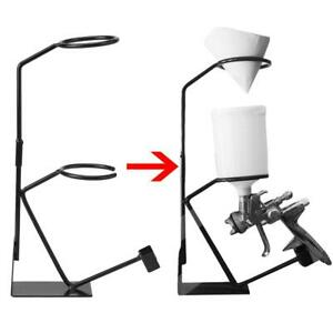 Gravity Feed Paint Spray Gun Stand With Strainer Holder Hvlp Wall Bench Mount