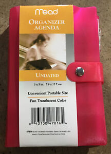 Mead Organizer Agenda Undated 3 X 5 Portable Size Translucent Color pink