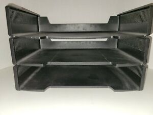 Stackable Desk Trays Plastic Black Set Of 3 8 5 8 X 13 X 2 3 4