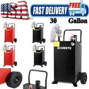 30 Gallon Gas Fuel Diesel Caddy Transfer Tank Container W Pump 8ft Hose