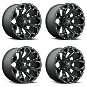 Set 4 17x8 5 Fuel Assault D546 Black Milled Truck Rims 6x120 14mm 6 Lug W Lugs