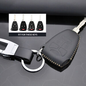 Leather Car Remote Key Case Cover Fob Holder Keychain For Jeep Chrysler Dodge