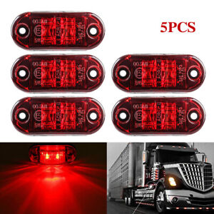 5x Red Led Car Truck Trailer Rv Oval 2 5 Side Clearance Marker Light For Toyota