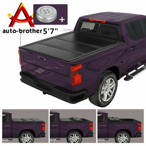 Hard Solid Tri Fold Tonneau Cover 5 7 Ft Bed Pickup Truck For 04 15 Nissan Titan