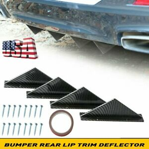 Car Look Rear Bumper Lip Diffuser Shark Fins Splitter 4pc Carbon Fiber Universal