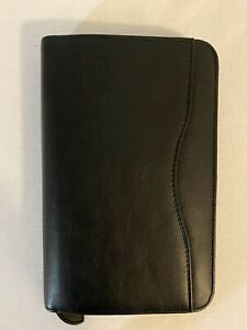Day timer Small Black Faux Leather Planner Binder 8 5 X 5 5