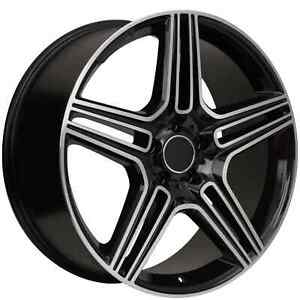 20 Staggered Mercedes Benz Machined black Replica Wheels Rims 975