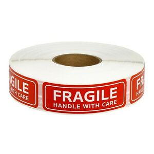 1 Roll 1000 Pcs 1 x3 Fragile Handle With Care Stickers Labels Easy Peel Apply