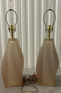 Pair Of Paolo Gucci Translucent Mid Century Modern Lucite Table Lamps