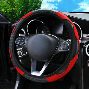 Universal Red Microfiber Leather Car Suv Steering Wheel Cover 15 For Honda Jeep