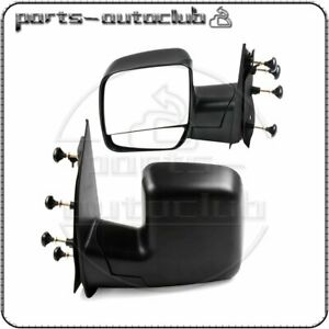 Left right Side View Black Manual Mirrors For 03 14 Ford Econoline