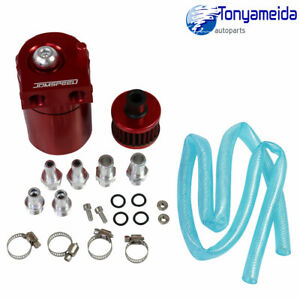 Oil Catch Can Tank Reservoir Breather Cylinder W Filter Kit Aluminum Engine Red