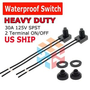 2pcs 12v 4 Wire Leads Waterproof On off Push button Switch For Motorcycle Car