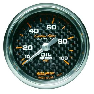 Auto Meter Carbon Fiber 52mm 100 Psi Mechanical Oil Pressure Gauge