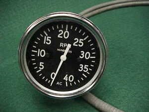 Vintage Ac Tach Tachometer Mechanical Drive Rat Rod Hot Military W cable