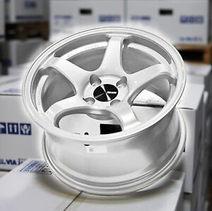 One Enkei Pf05 15x8 25mm Offset 4x100mm Lightweight Track Racing Wheel White