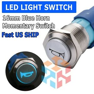 12v 16mm Blue Led Light Car Momentary Push Button Air Horn Switch Control