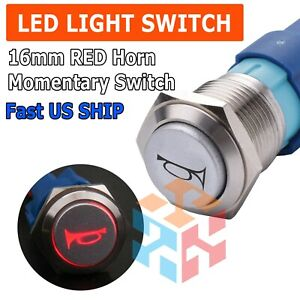 12v 16mm Red Led Light Car Momentary Push Button Air Horn Switch Control