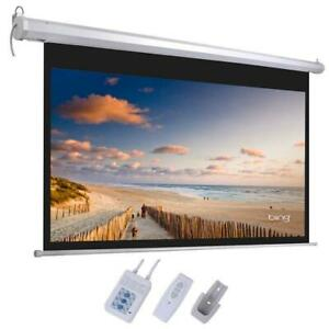 92 16 9 80 X 45 Viewing Area Motorized Projector Screen Matte White remote