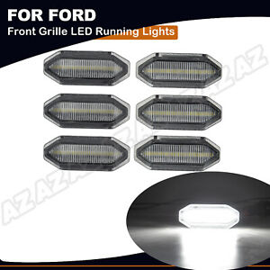 6x Led Front Grille Parking Light Daytime Running Lamp For Ford Mustang 2015 17