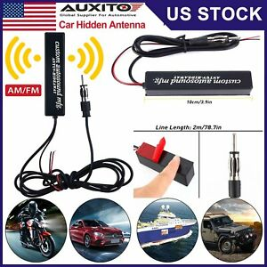 Universal Car Hidden Amplified Antenna Kit 12v Stereo Am Fm Radio Us Stock